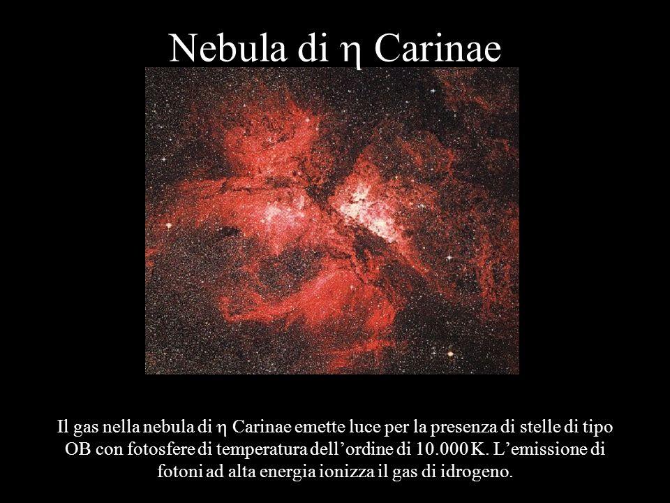 Nebula di Carinae Il gas nella nebula di Carinae emette luce per la presenza di stelle di tipo OB con fotosfere di temperatura dellordine di 10.000 K.