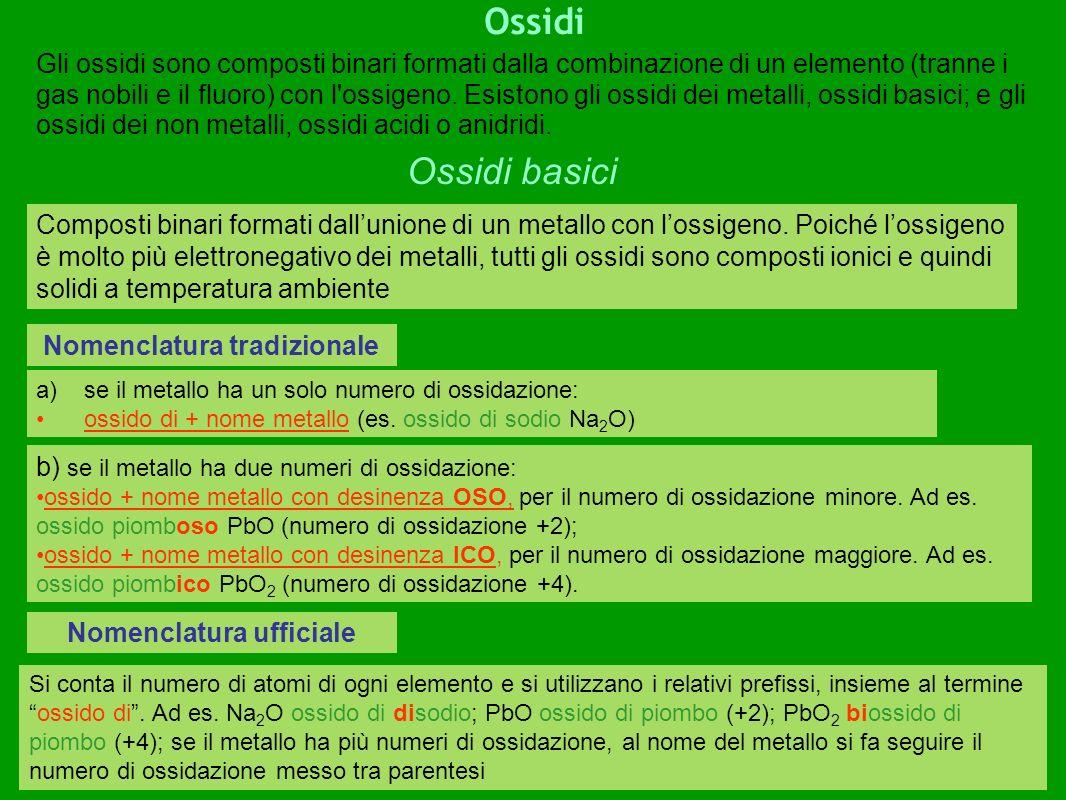 Ossidi Nomenclatura tradizionale Gli ossidi sono composti binari formati dalla combinazione di un elemento (tranne i gas nobili e il fluoro) con l ossigeno.