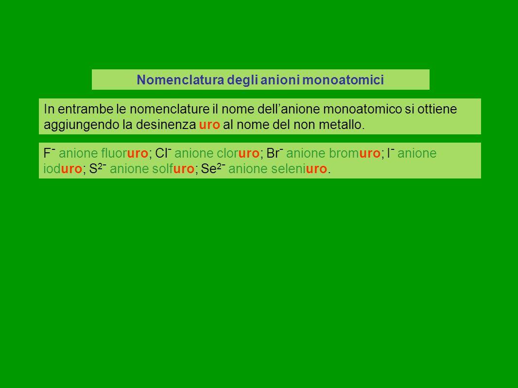 Nomenclatura degli anioni monoatomici In entrambe le nomenclature il nome dellanione monoatomico si ottiene aggiungendo la desinenza uro al nome del non metallo.