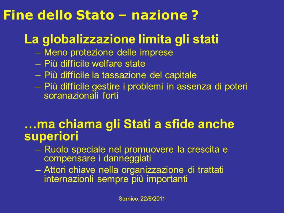 La globalizzazione limita gli stati –Meno protezione delle imprese –Più difficile welfare state –Più difficile la tassazione del capitale –Più diffici