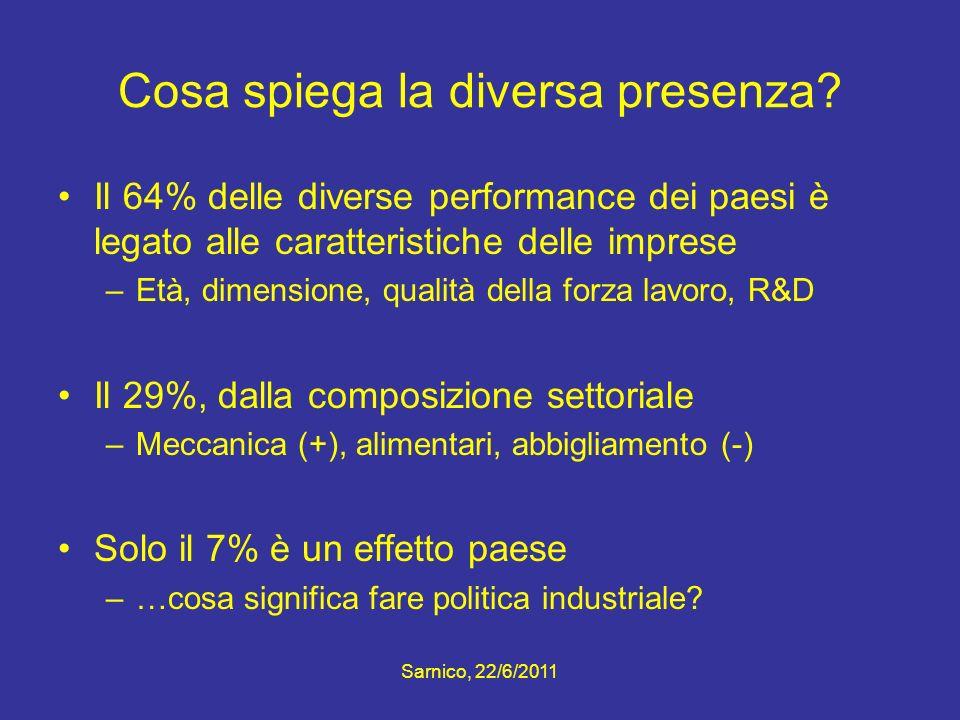 Cosa spiega la diversa presenza? Il 64% delle diverse performance dei paesi è legato alle caratteristiche delle imprese –Età, dimensione, qualità dell