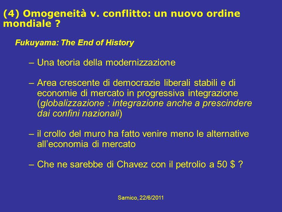 Fukuyama: The End of History –Una teoria della modernizzazione –Area crescente di democrazie liberali stabili e di economie di mercato in progressiva
