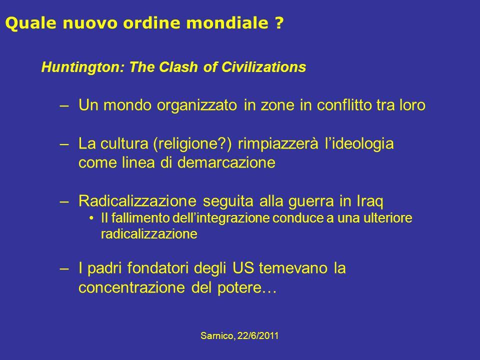Sarnico, 22/6/2011 Huntington: The Clash of Civilizations –Un mondo organizzato in zone in conflitto tra loro –La cultura (religione?) rimpiazzerà lid