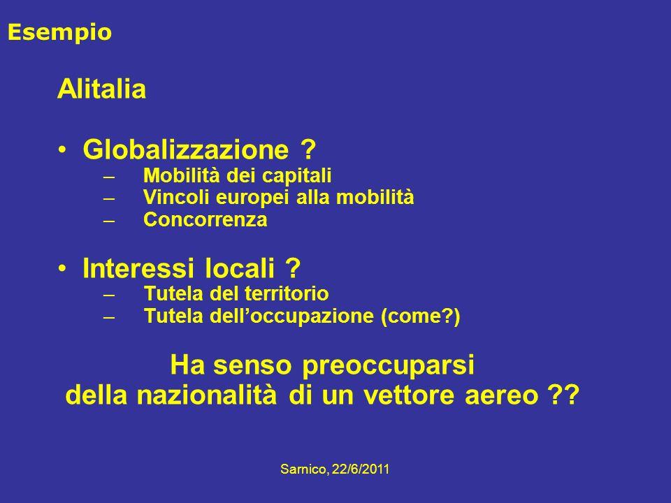 Sarnico, 22/6/2011 Esempio Alitalia Globalizzazione ? –Mobilità dei capitali –Vincoli europei alla mobilità –Concorrenza Interessi locali ? –Tutela de