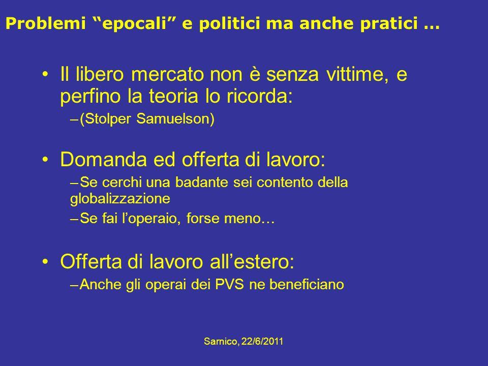 Problemi epocali e politici ma anche pratici … Il libero mercato non è senza vittime, e perfino la teoria lo ricorda: –(Stolper Samuelson) Domanda ed