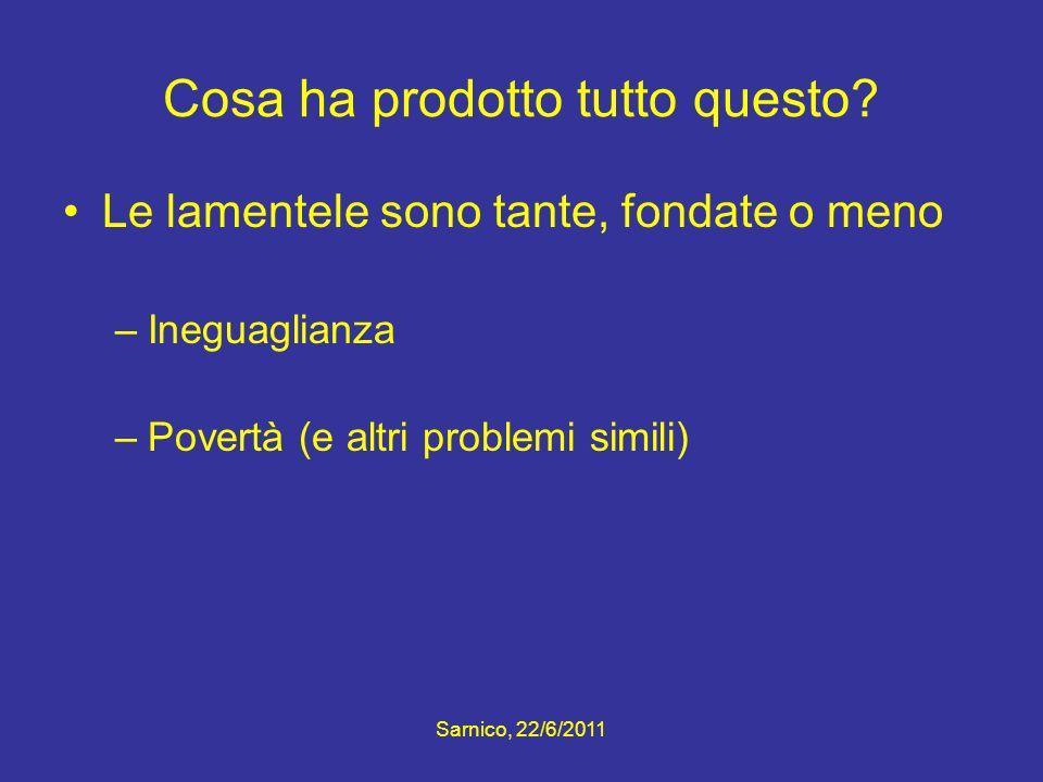 Cosa ha prodotto tutto questo? Le lamentele sono tante, fondate o meno –Ineguaglianza –Povertà (e altri problemi simili) Sarnico, 22/6/2011
