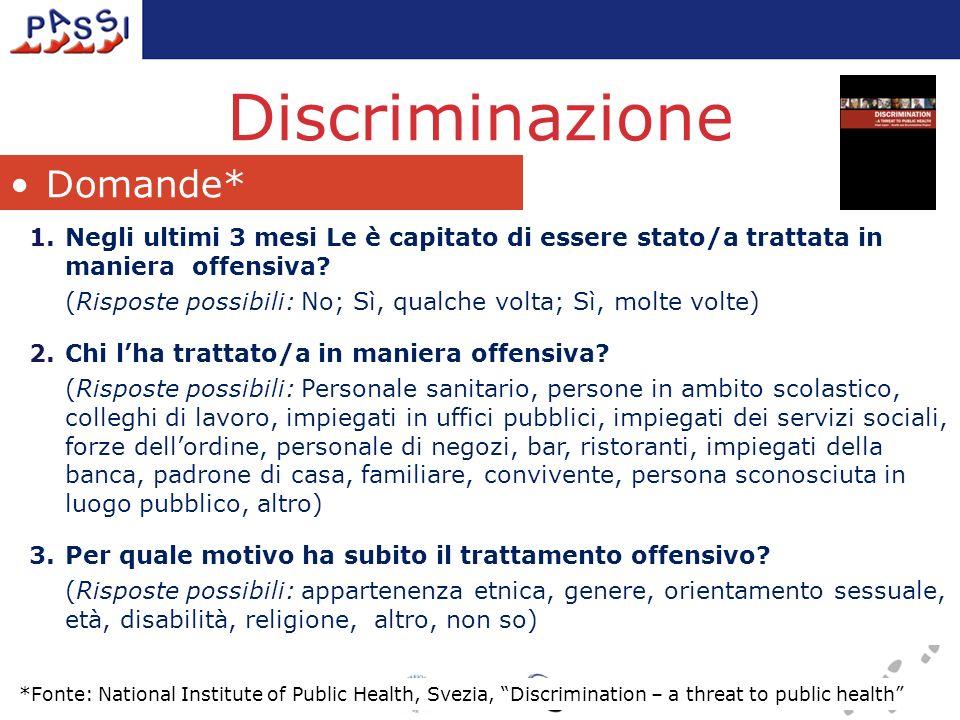 Discriminazione 1.Negli ultimi 3 mesi Le è capitato di essere stato/a trattata in maniera offensiva.