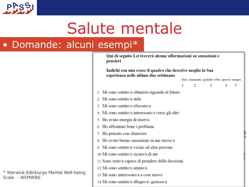 Salute mentale Domande: alcuni esempi* * Warwick-Edinburgo Mental Well-being Scale - WEMWBS