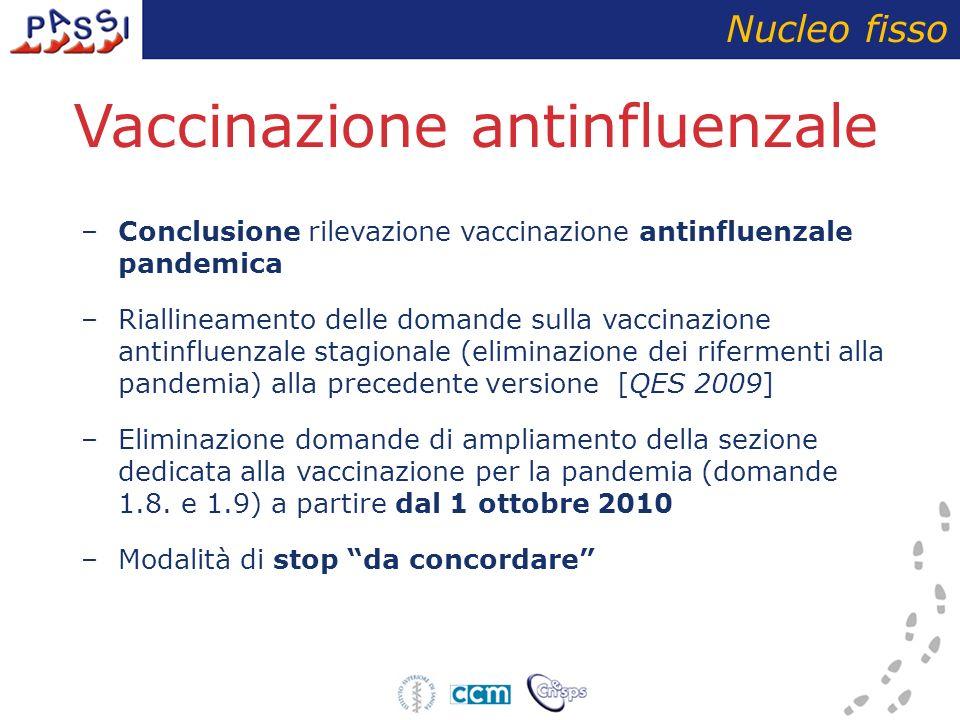 Vaccinazione antinfluenzale –Conclusione rilevazione vaccinazione antinfluenzale pandemica –Riallineamento delle domande sulla vaccinazione antinfluenzale stagionale (eliminazione dei rifermenti alla pandemia) alla precedente versione [QES 2009] –Eliminazione domande di ampliamento della sezione dedicata alla vaccinazione per la pandemia (domande 1.8.
