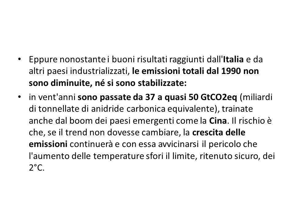 Eppure nonostante i buoni risultati raggiunti dall'Italia e da altri paesi industrializzati, le emissioni totali dal 1990 non sono diminuite, né si so