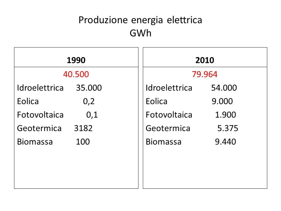 Produzione energia elettrica GWh 1990 40.500 Idroelettrica 35.000 Eolica 0,2 Fotovoltaica 0,1 Geotermica 3182 Biomassa 100 2010 79.964 Idroelettrica 5