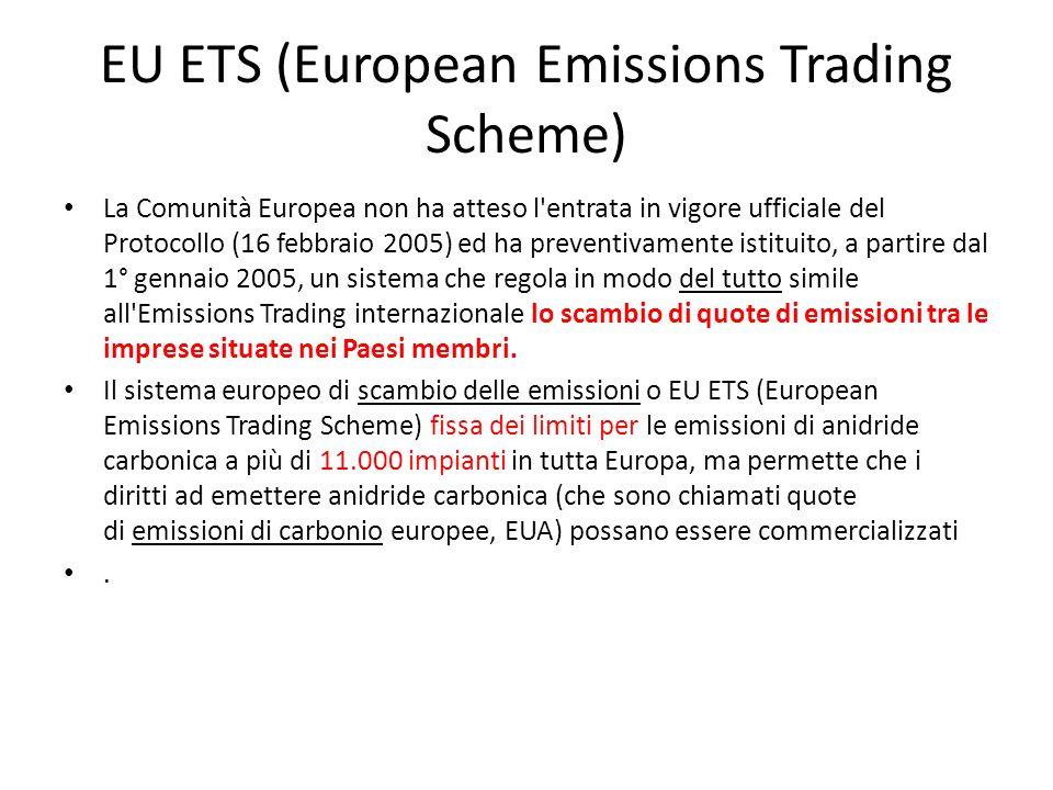 EU ETS (European Emissions Trading Scheme) La Comunità Europea non ha atteso l'entrata in vigore ufficiale del Protocollo (16 febbraio 2005) ed ha pre