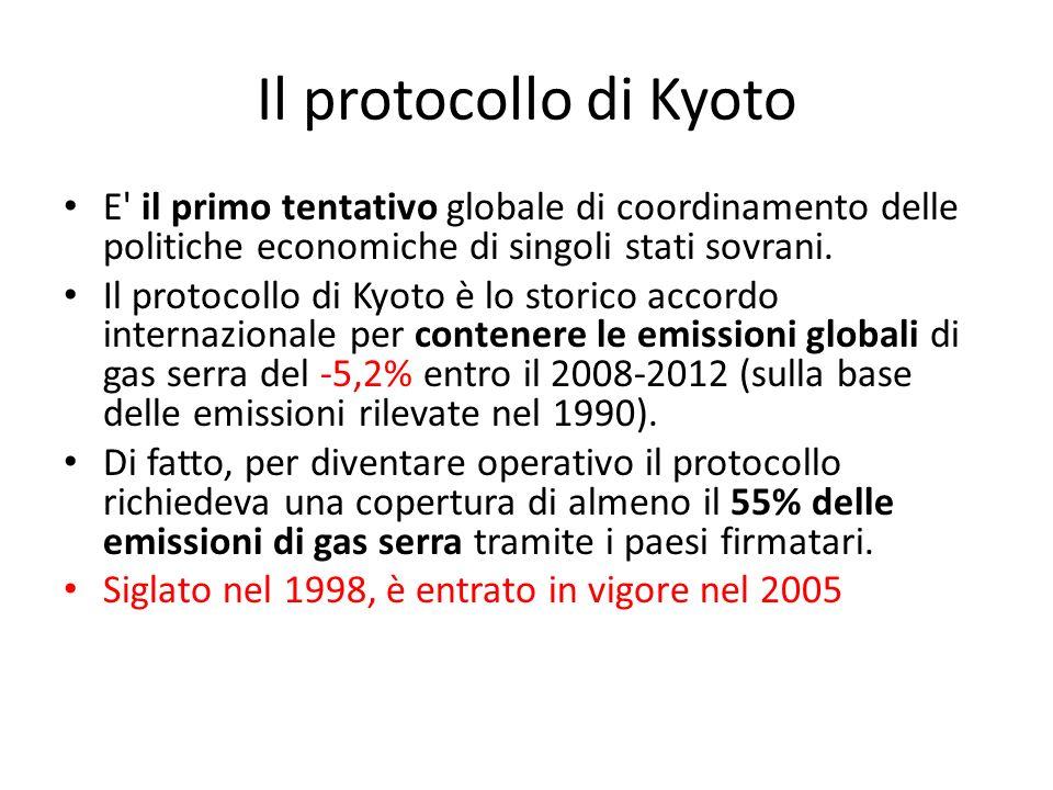 Il protocollo di Kyoto E' il primo tentativo globale di coordinamento delle politiche economiche di singoli stati sovrani. Il protocollo di Kyoto è lo