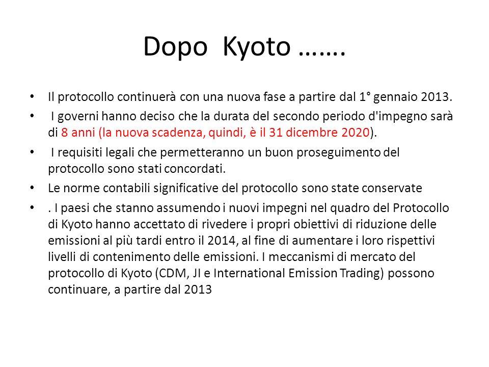 Dopo Kyoto ……. Il protocollo continuerà con una nuova fase a partire dal 1° gennaio 2013. I governi hanno deciso che la durata del secondo periodo d'i