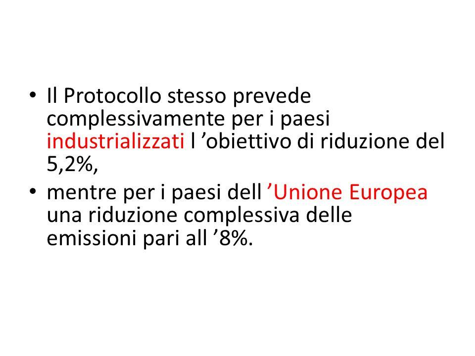 Il Protocollo stesso prevede complessivamente per i paesi industrializzati l obiettivo di riduzione del 5,2%, mentre per i paesi dell Unione Europea u