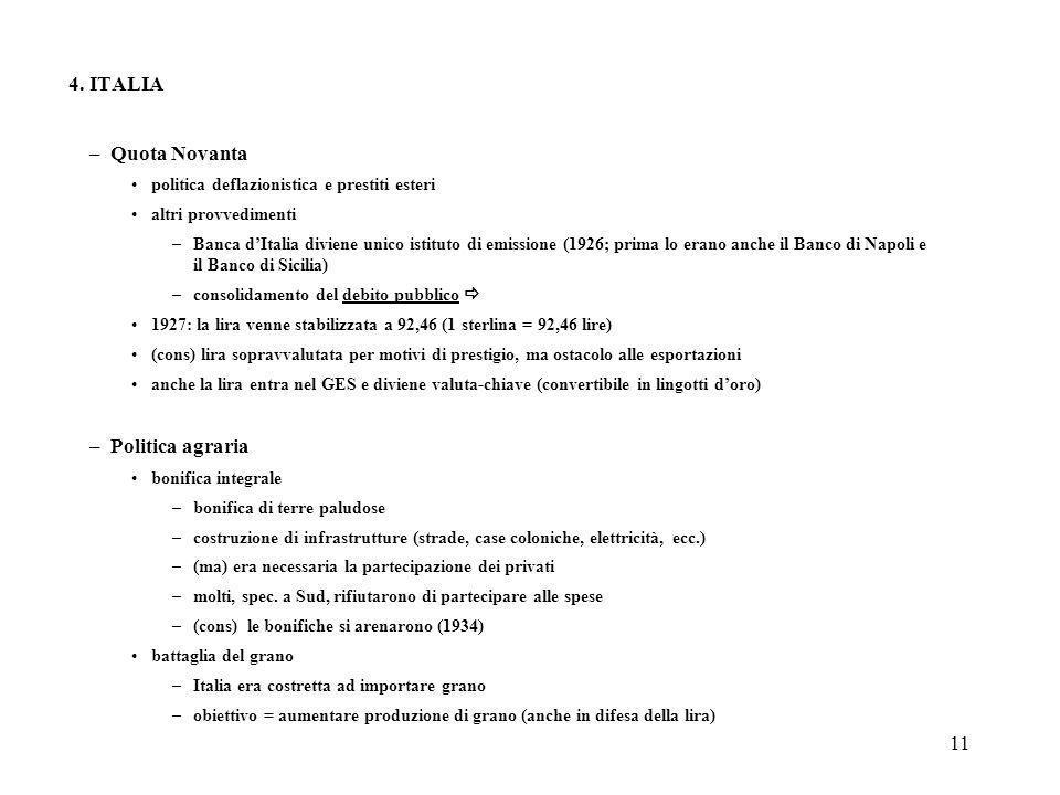 11 4. ITALIA –Quota Novanta politica deflazionistica e prestiti esteri altri provvedimenti –Banca dItalia diviene unico istituto di emissione (1926; p