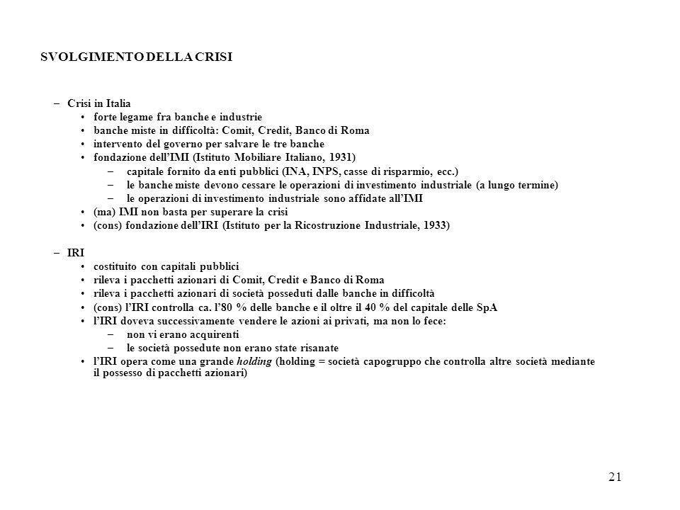 21 SVOLGIMENTO DELLA CRISI –Crisi in Italia forte legame fra banche e industrie banche miste in difficoltà: Comit, Credit, Banco di Roma intervento de