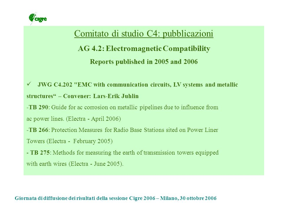 Comitato di studio C4: pubblicazioni AG 4.2: Electromagnetic Compatibility Reports published in 2005 and 2006 JWG C4.202