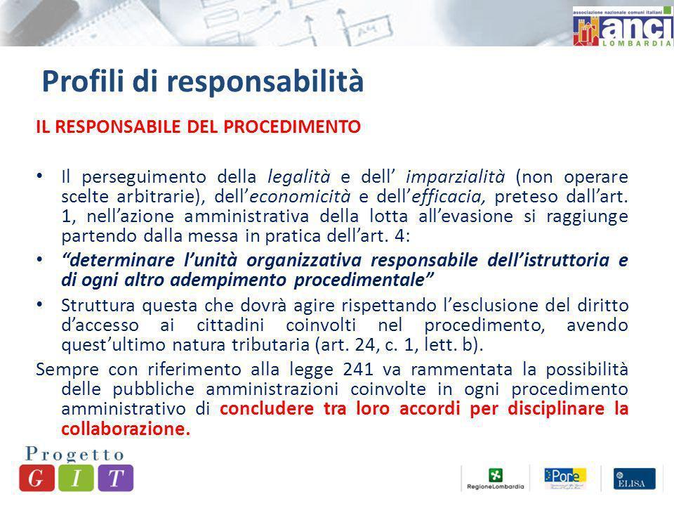 Profili di responsabilità IL RESPONSABILE DEL PROCEDIMENTO Il perseguimento della legalità e dell imparzialità (non operare scelte arbitrarie), delleconomicità e dellefficacia, preteso dallart.