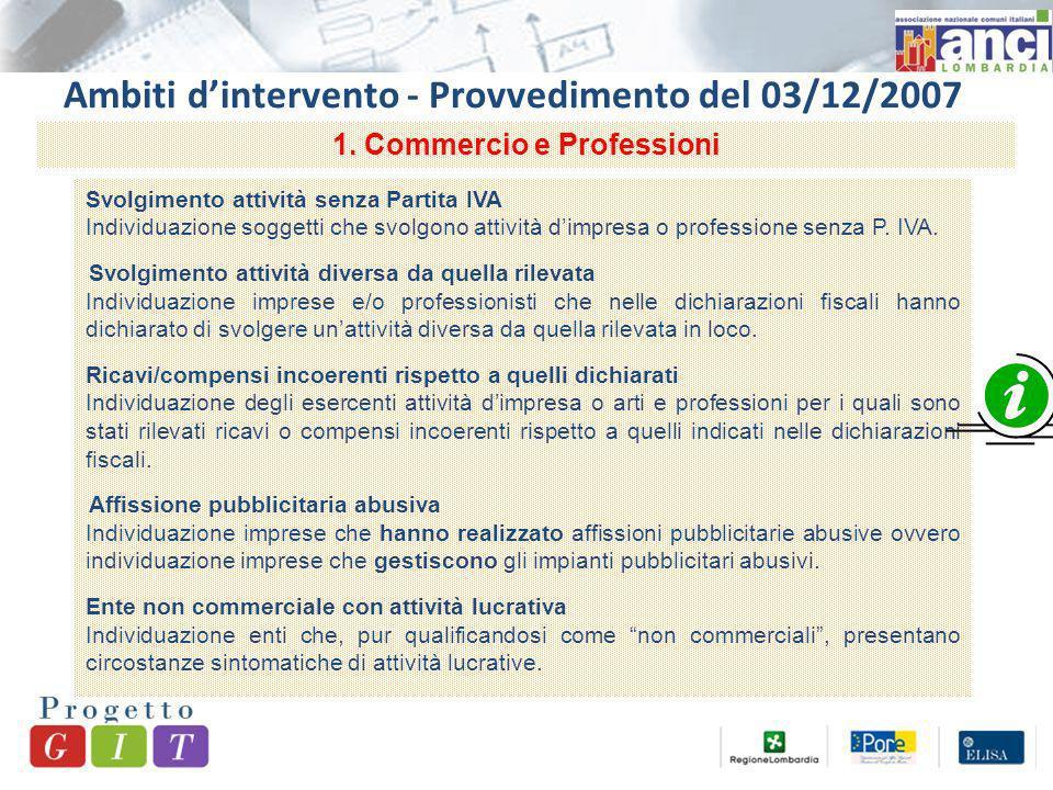 Ambiti dintervento - Provvedimento del 03/12/2007 Svolgimento attività senza Partita IVA Individuazione soggetti che svolgono attività dimpresa o professione senza P.