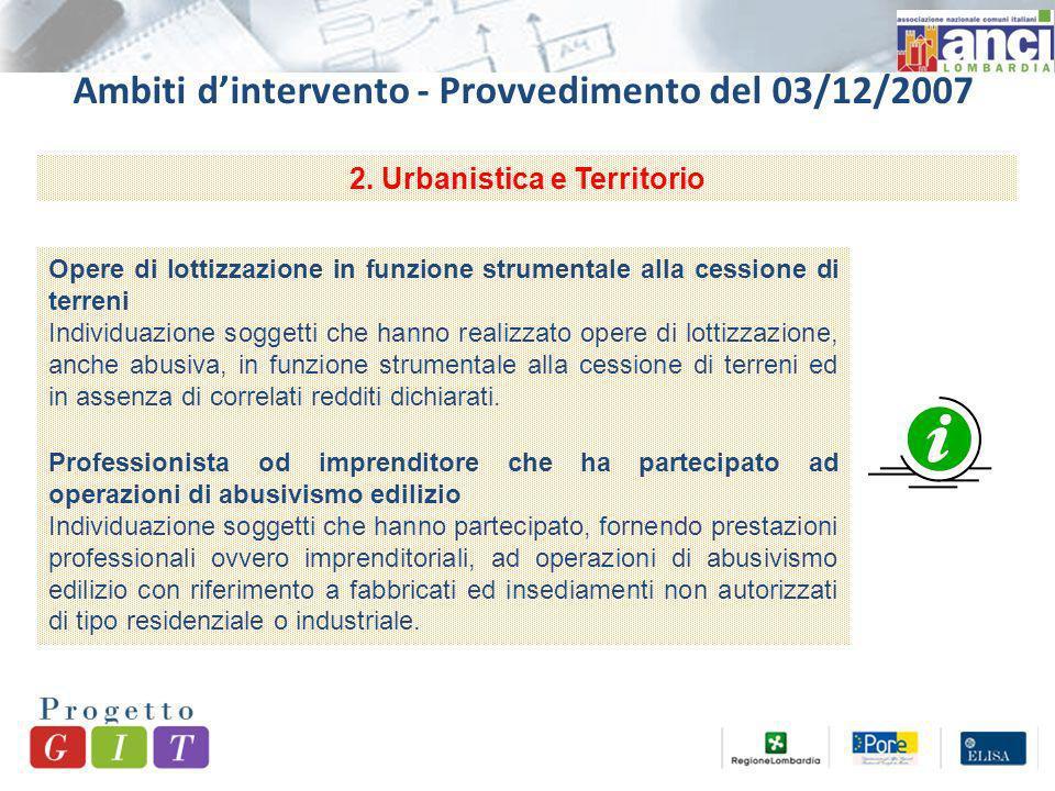 Ambiti dintervento - Provvedimento del 03/12/2007 2.