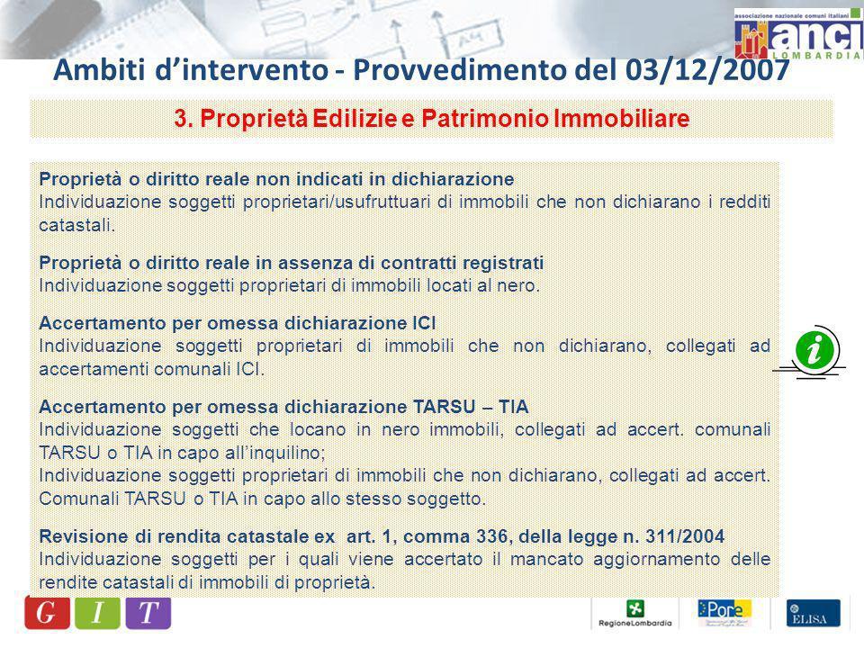 Ambiti dintervento - Provvedimento del 03/12/2007 3.