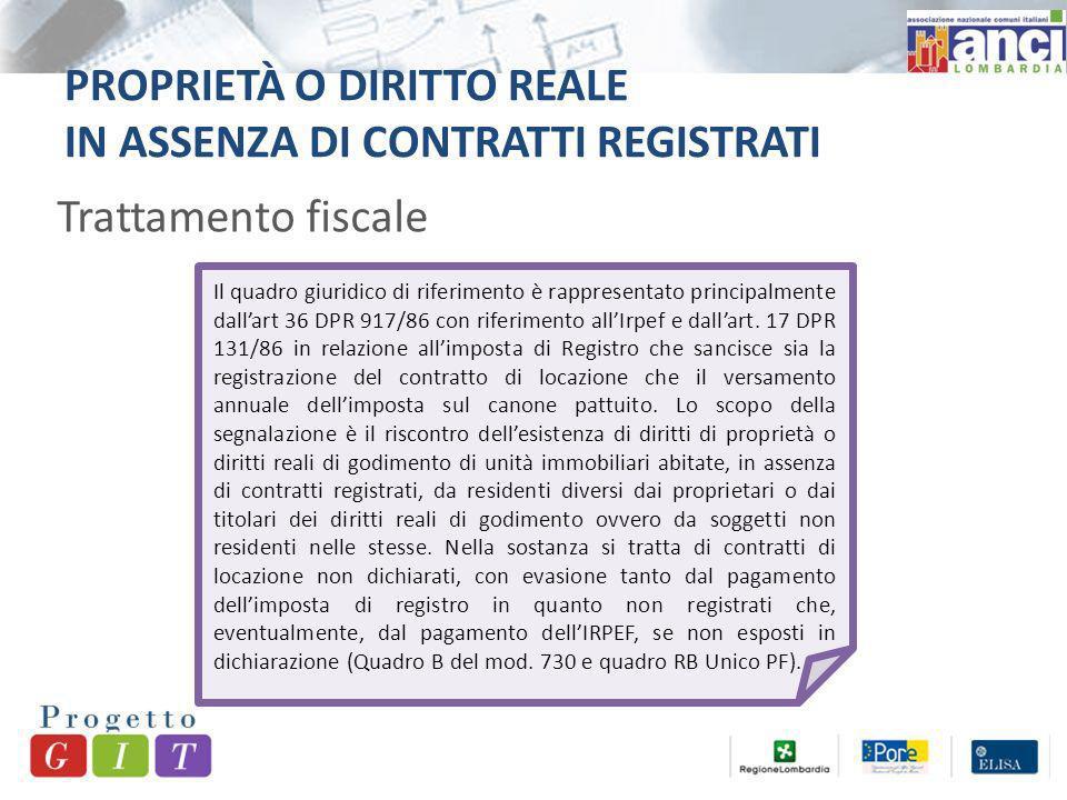 PROPRIETÀ O DIRITTO REALE IN ASSENZA DI CONTRATTI REGISTRATI Trattamento fiscale Il quadro giuridico di riferimento è rappresentato principalmente dallart 36 DPR 917/86 con riferimento allIrpef e dallart.