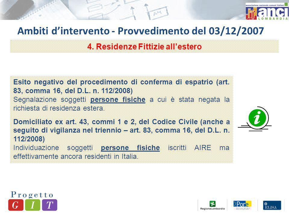Ambiti dintervento - Provvedimento del 03/12/2007 4.