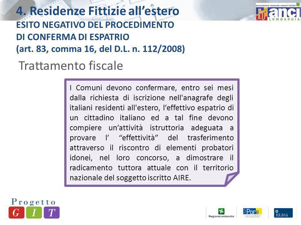 4. Residenze Fittizie allestero ESITO NEGATIVO DEL PROCEDIMENTO DI CONFERMA DI ESPATRIO (art.