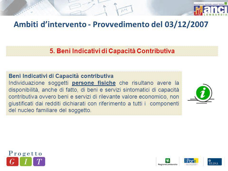 Ambiti dintervento - Provvedimento del 03/12/2007 5.