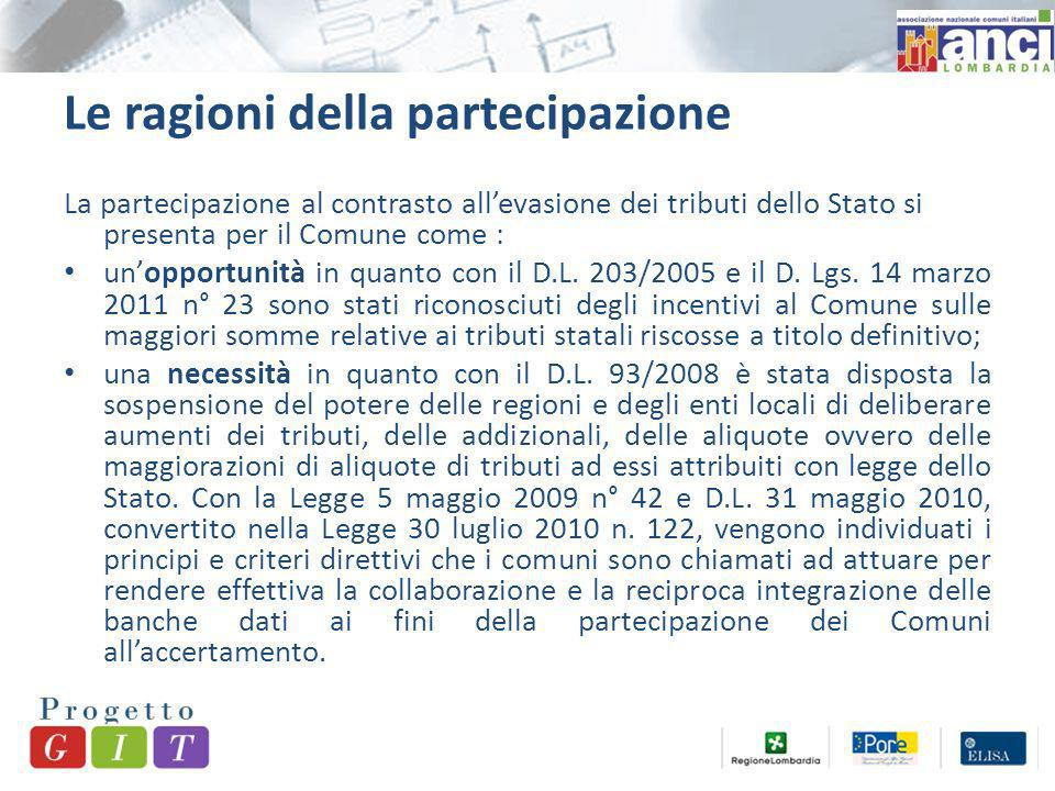 Le ragioni della partecipazione La partecipazione al contrasto allevasione dei tributi dello Stato si presenta per il Comune come : unopportunità in quanto con il D.L.