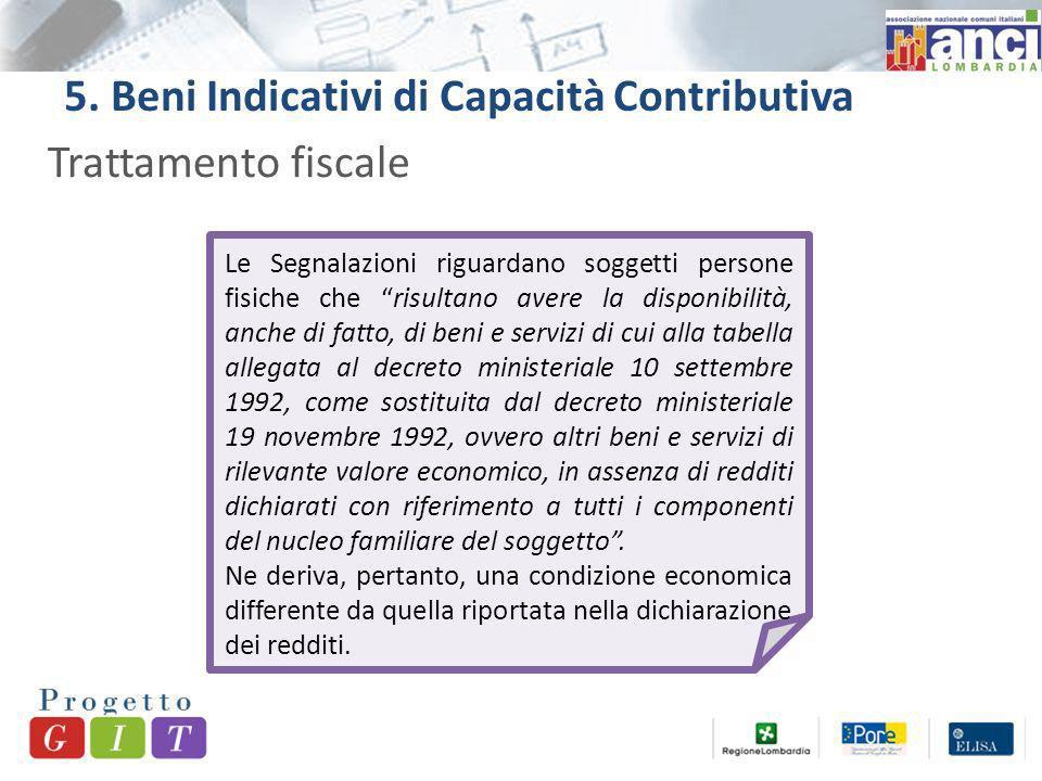 5. Beni Indicativi di Capacità Contributiva Trattamento fiscale Le Segnalazioni riguardano soggetti persone fisiche che risultano avere la disponibili
