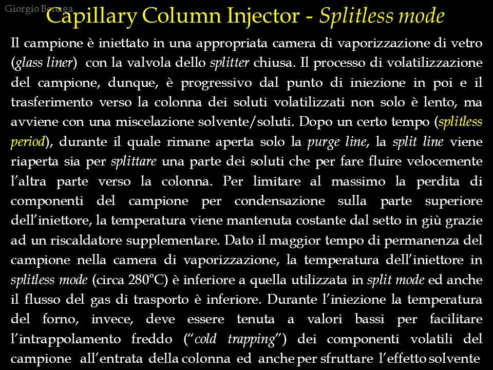 Capillary Column Injector - Splitless mode Il campione è iniettato in una appropriata camera di vaporizzazione di vetro ( glass liner ) con la valvola