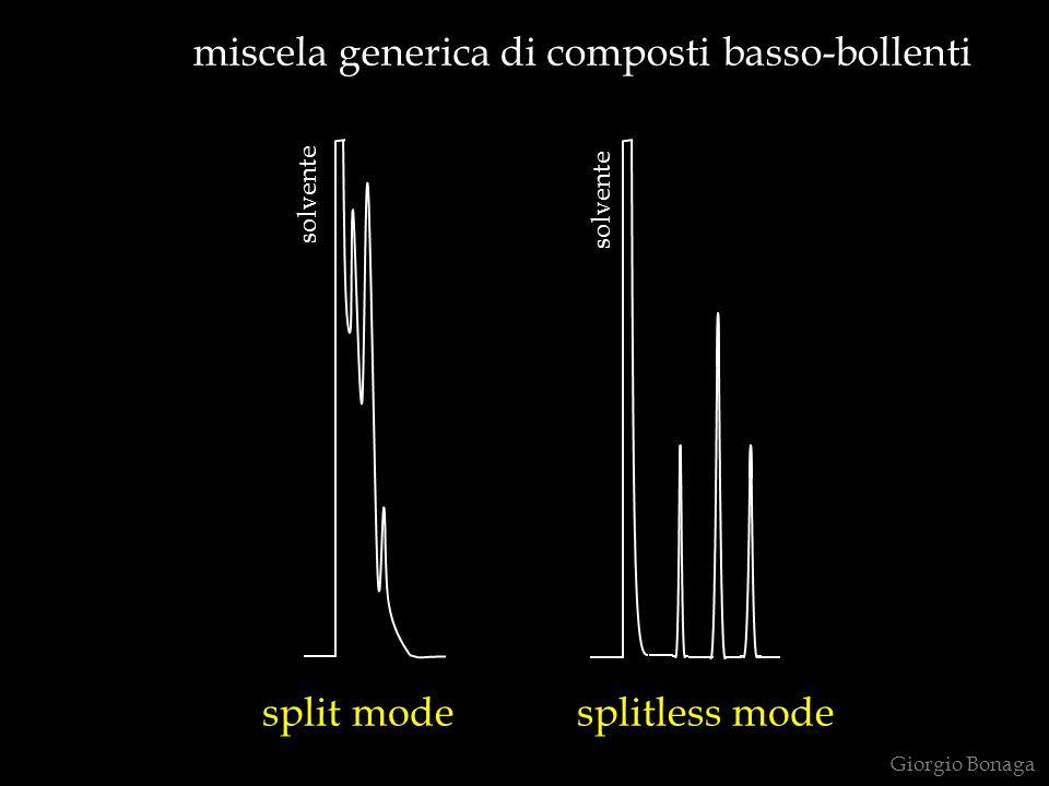 miscela generica di composti basso-bollenti split mode splitless mode solvente Giorgio Bonaga