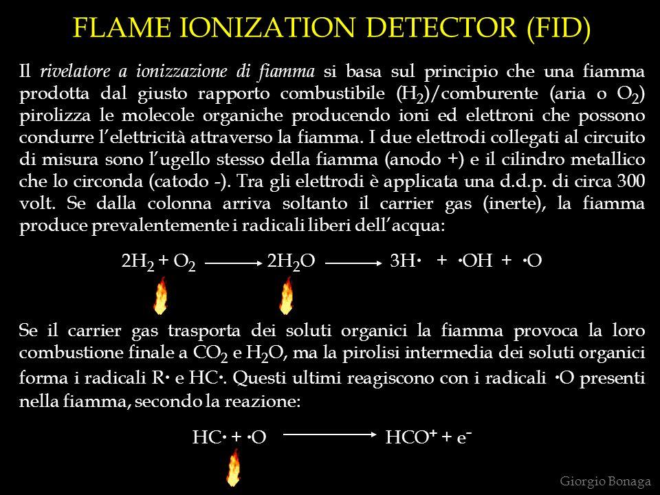 FLAME IONIZATION DETECTOR (FID) Il rivelatore a ionizzazione di fiamma si basa sul principio che una fiamma prodotta dal giusto rapporto combustibile