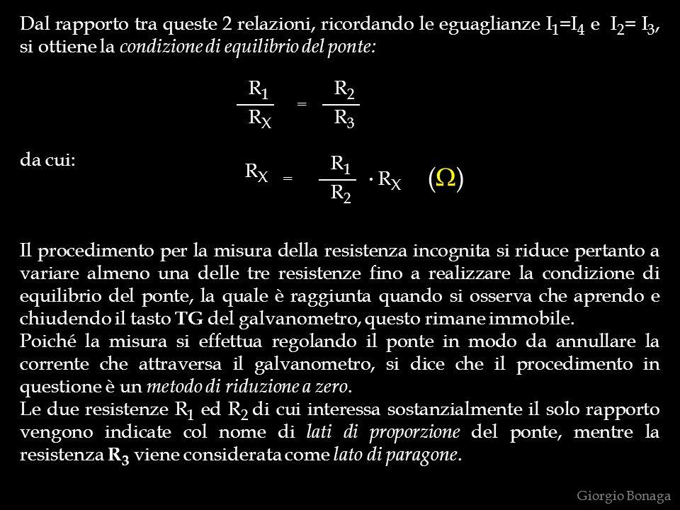Dal rapporto tra queste 2 relazioni, ricordando le eguaglianze I 1 =I 4 e I 2 = I 3, si ottiene la condizione di equilibrio del ponte: da cui: Il proc