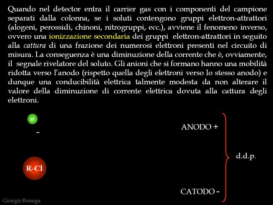 e Quando nel detector entra il carrier gas con i componenti del campione separati dalla colonna, se i soluti contengono gruppi elettron-attrattori (al