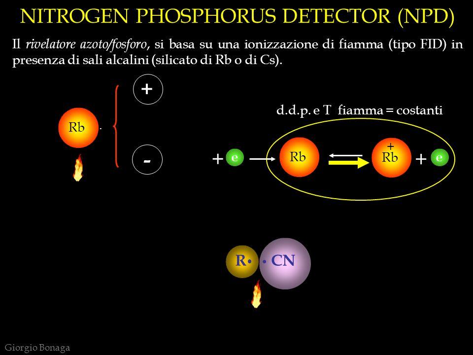e NITROGEN PHOSPHORUS DETECTOR (NPD) Il rivelatore azoto/fosforo, si basa su una ionizzazione di fiamma (tipo FID) in presenza di sali alcalini (silic