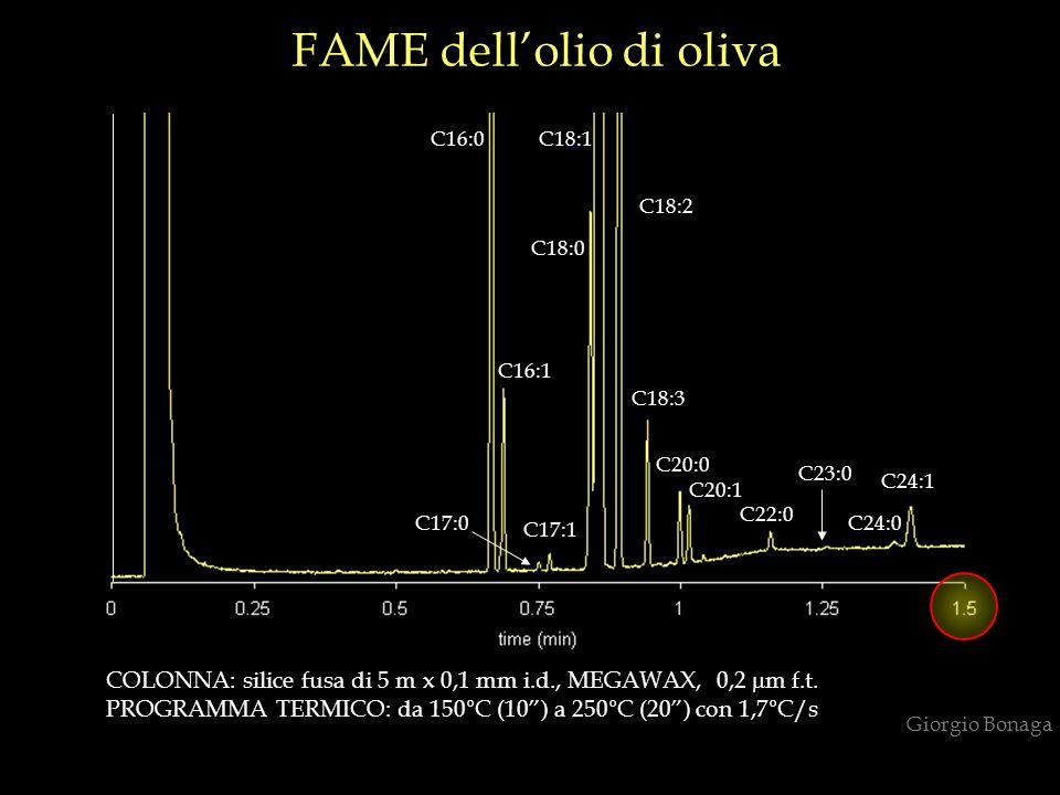 COLONNA: silice fusa di 5 m x 0,1 mm i.d., MEGAWAX, 0,2 m f.t. PROGRAMMA TERMICO: da 150°C (10) a 250°C (20) con 1,7°C/s FAME dellolio di oliva C16:0