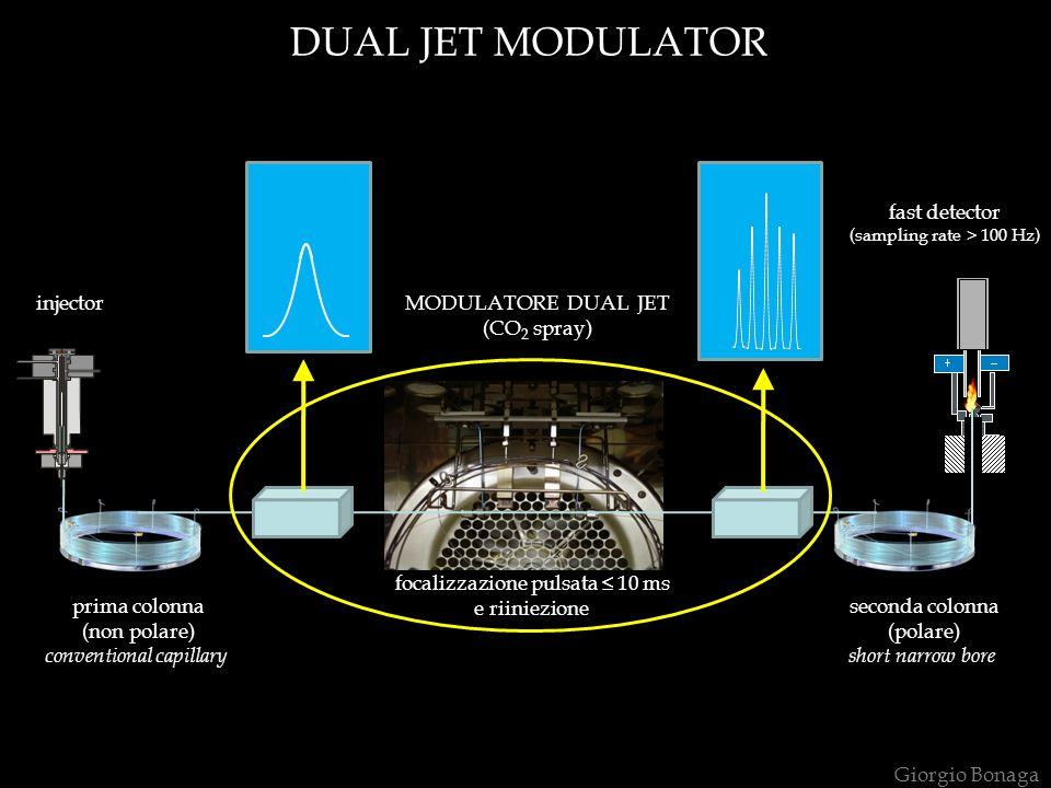 prima colonna (non polare) conventional capillary seconda colonna (polare) short narrow bore MODULATORE DUAL JET (CO 2 spray) injector focalizzazione