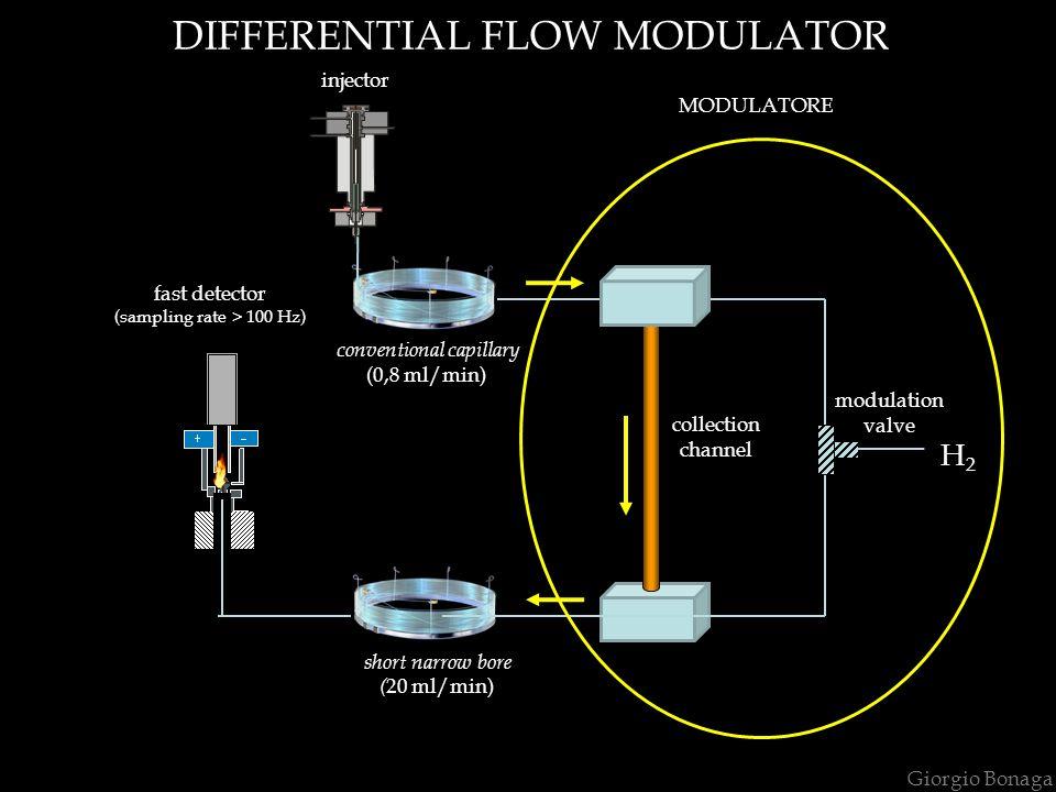 short narrow bore ( 20 ml/min) injector Giorgio Bonaga DIFFERENTIAL FLOW MODULATOR fast detector (sampling rate > 100 Hz) conventional capillary (0,8 ml/min) H2H2 collection channel modulation valve MODULATORE