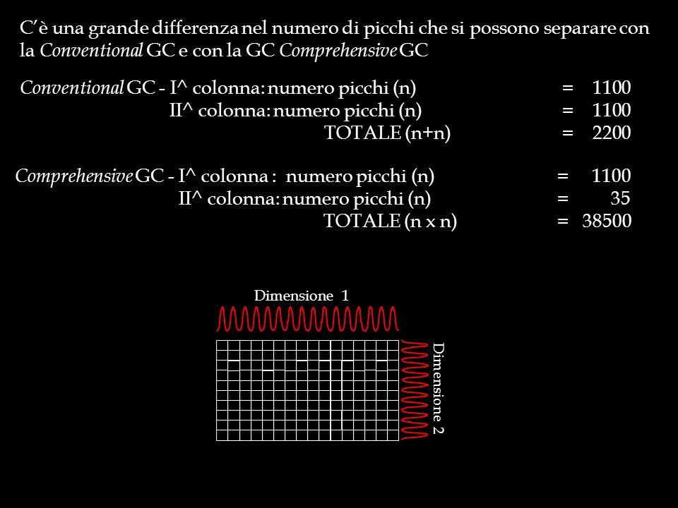 Cè una grande differenza nel numero di picchi che si possono separare con la Conventional GC e con la GC Comprehensive GC Comprehensive GC - I^ colonn