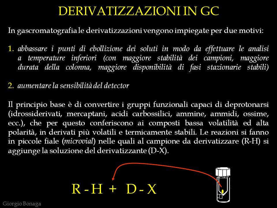DERIVATIZZAZIONI IN GC In gascromatografia le derivatizzazioni vengono impiegate per due motivi: 1. abbassare i punti di ebollizione dei soluti in mod