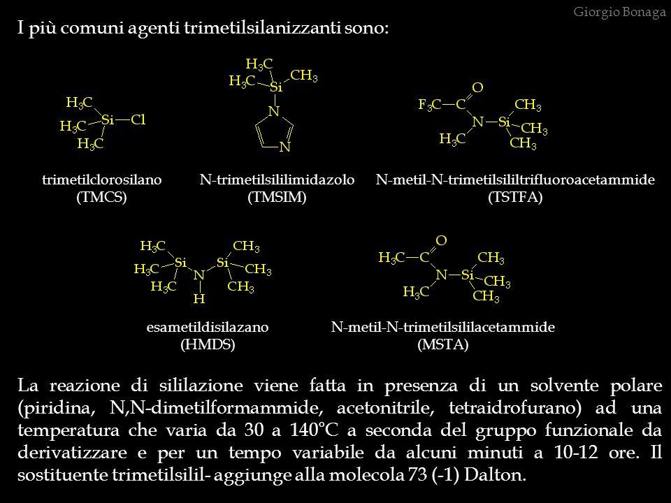I più comuni agenti trimetilsilanizzanti sono: La reazione di sililazione viene fatta in presenza di un solvente polare (piridina, N,N-dimetilformammi
