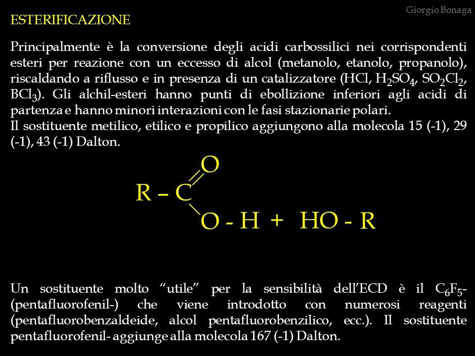 ESTERIFICAZIONE Principalmente è la conversione degli acidi carbossilici nei corrispondenti esteri per reazione con un eccesso di alcol (metanolo, eta