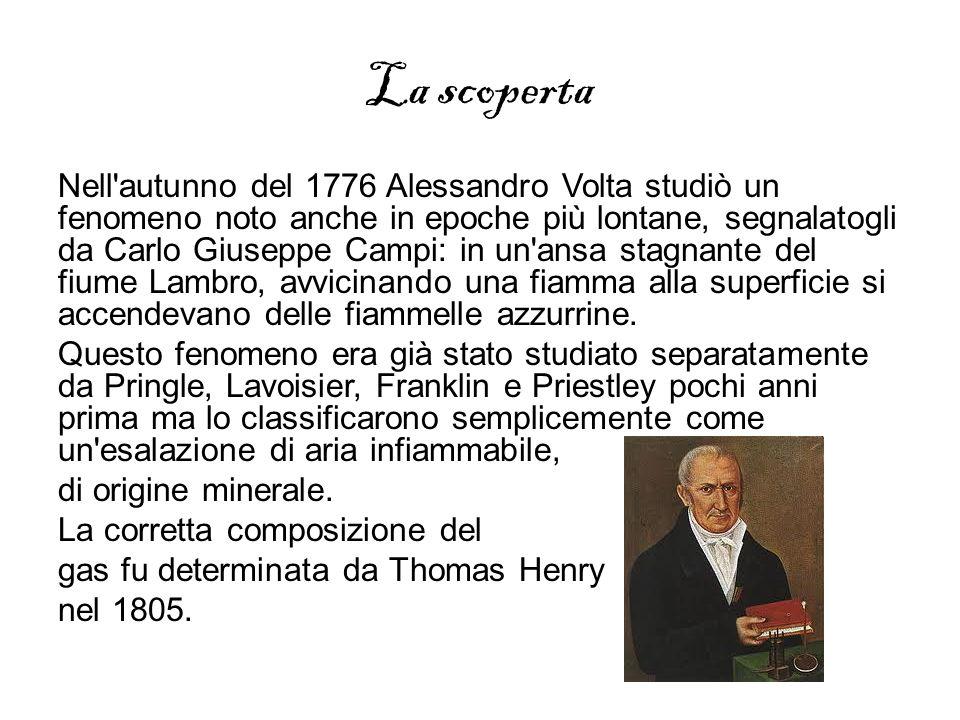 La scoperta Nell'autunno del 1776 Alessandro Volta studiò un fenomeno noto anche in epoche più lontane, segnalatogli da Carlo Giuseppe Campi: in un'an