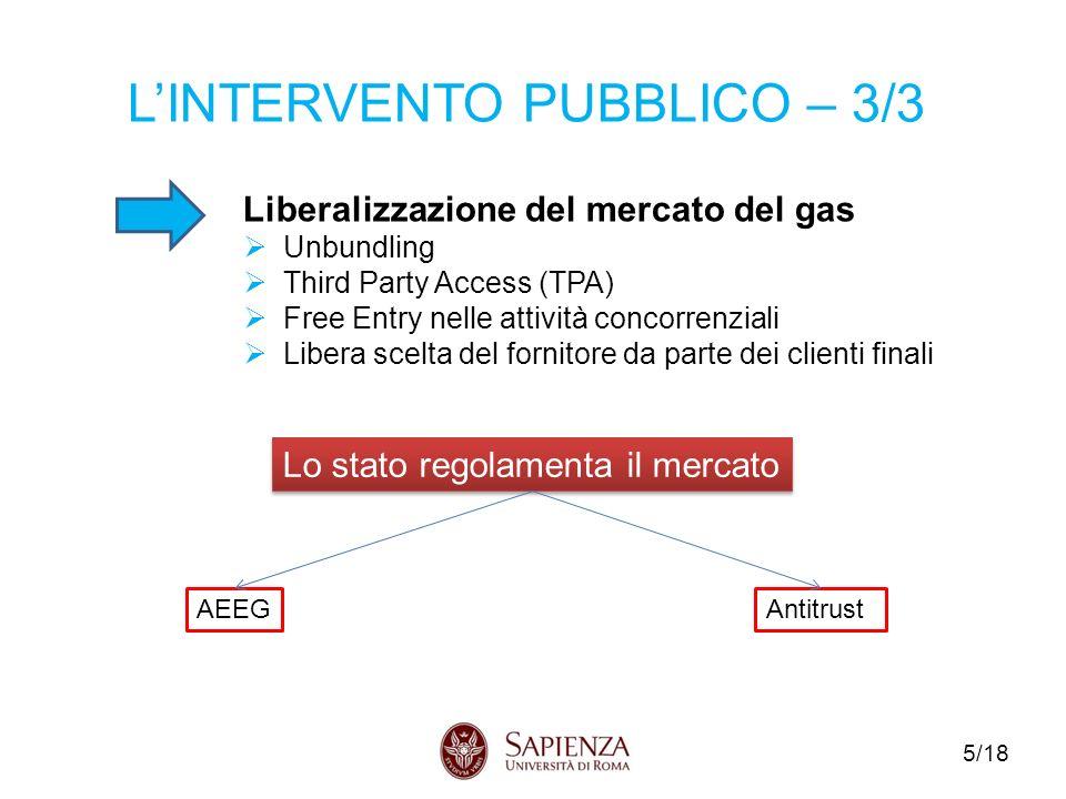 5/18 LINTERVENTO PUBBLICO – 3/3 Liberalizzazione del mercato del gas Unbundling Third Party Access (TPA) Free Entry nelle attività concorrenziali Libera scelta del fornitore da parte dei clienti finali Lo stato regolamenta il mercato AEEGAntitrust