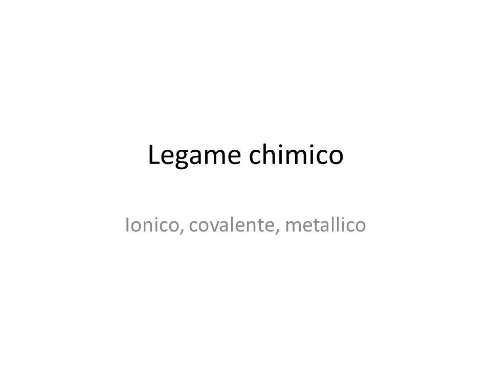 Legame chimico Ionico, covalente, metallico