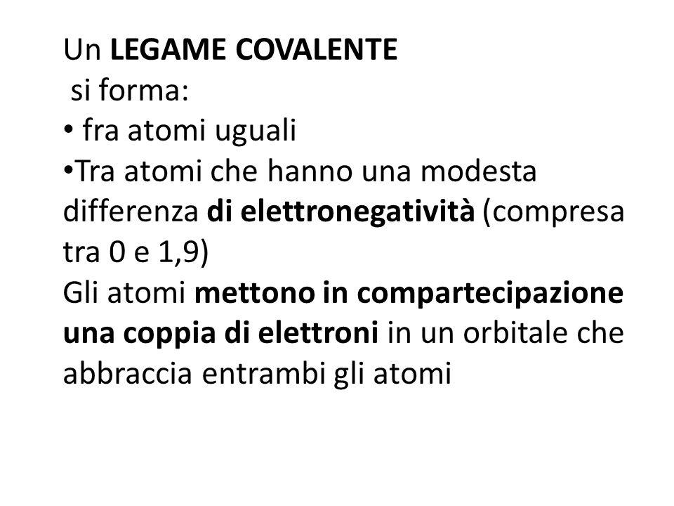 Un LEGAME COVALENTE si forma: fra atomi uguali Tra atomi che hanno una modesta differenza di elettronegatività (compresa tra 0 e 1,9) Gli atomi mettono in compartecipazione una coppia di elettroni in un orbitale che abbraccia entrambi gli atomi