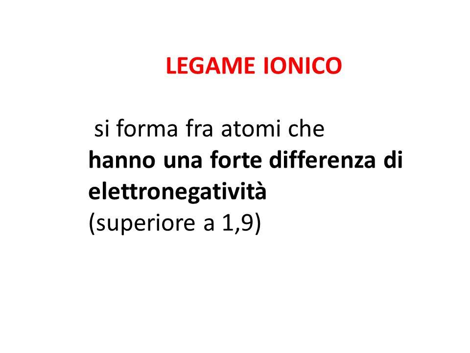 LEGAME IONICO si forma fra atomi che hanno una forte differenza di elettronegatività (superiore a 1,9)